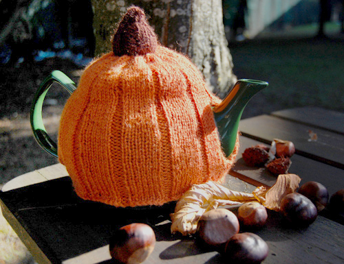 knitted pumpkin tea cosy pattern