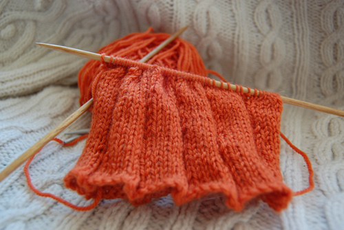 pumpkin tea cosy in progress
