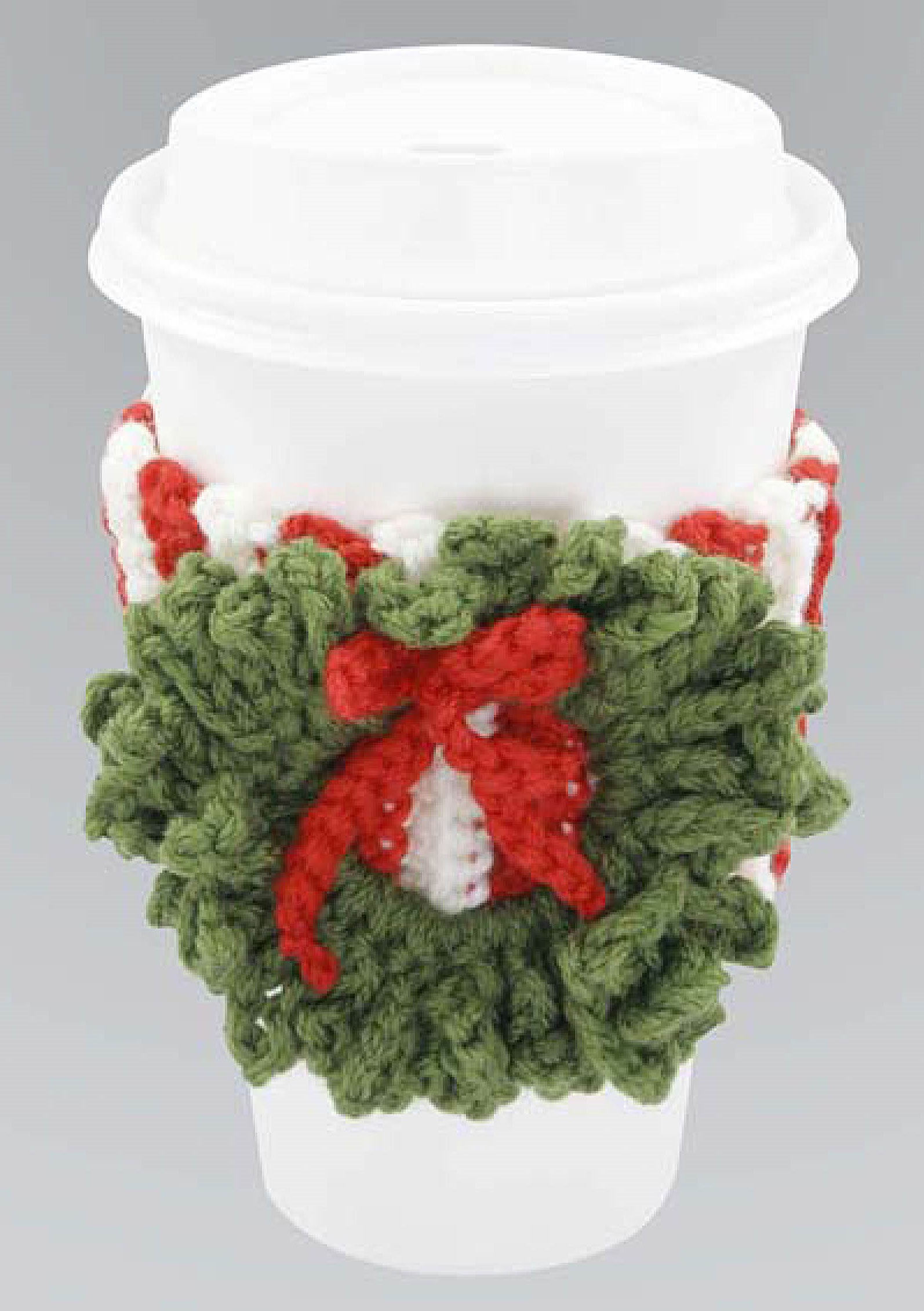 Christmas Cup Cosy crochet project that can be made up super quick