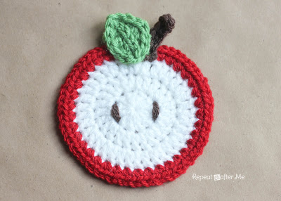 Coaster_Apple, crochet, fruit, sarah zimmerman, repeat crafter me