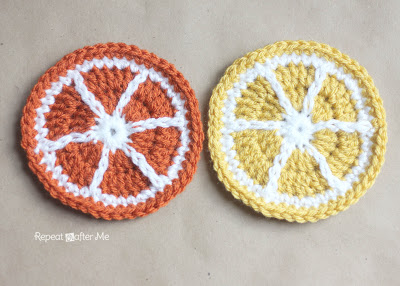 Coasters_OrangeLemon, Sarah Zimmerman, Repeat crafter me, free pattern, fruit