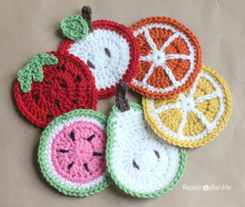 fruit, crochet, coasters, sarah zimmerman, repeat crafter me