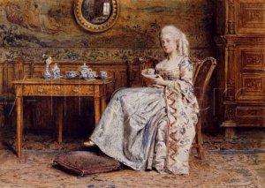 Anna, Duchess of Bedford enjoying a cup of tea.