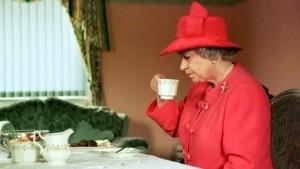 Queen Liz, enjoying a cup of tea